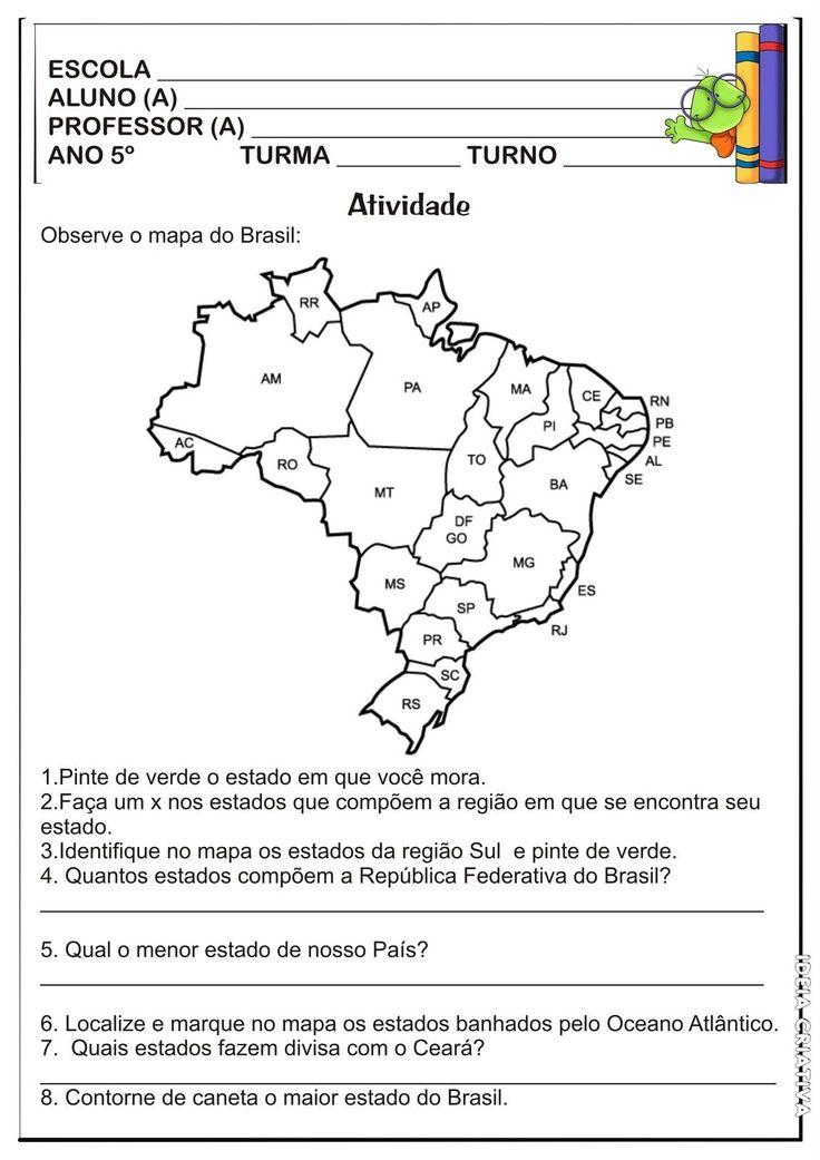 Lipitipi- Atividades e Projetos Fundamental I: Atividade Estados e Regiões Brasileiras