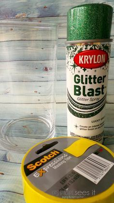 I love this glitter vase, especially for a Christmas table centerpiece, because it's easy and cheap, using items you likely have around the house.