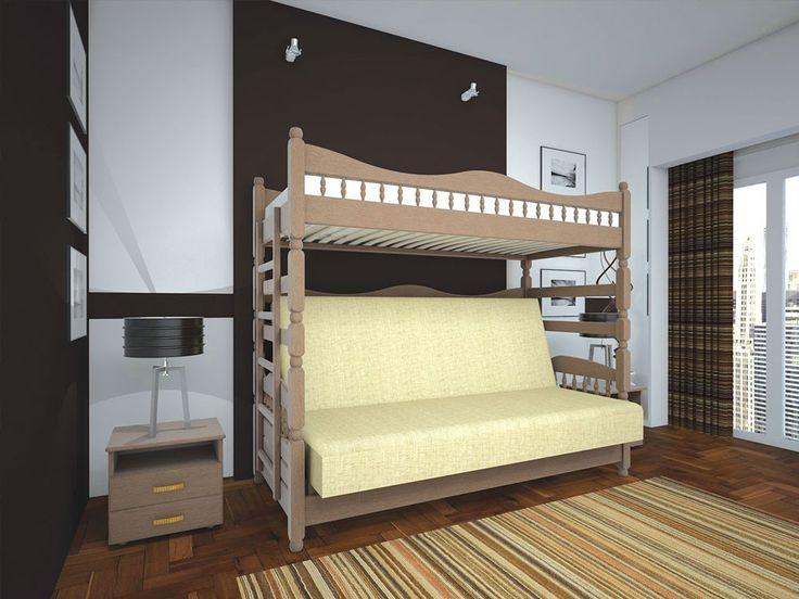 Кровать Комби-3 90х140х200 может быть изготовлена из древесины сосны, дуба или бука. Кровать-чердак с диваном. Wood bed and sofa loft