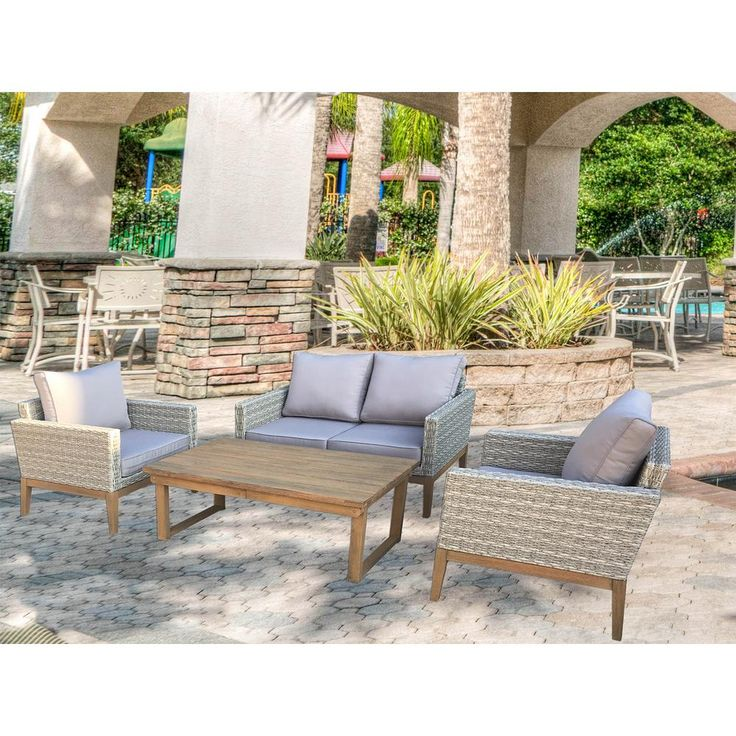S'DENTE Portofino 4-Piece Wicker Patio Conversation Set with Multi-Function Table and Light Grey Cushions