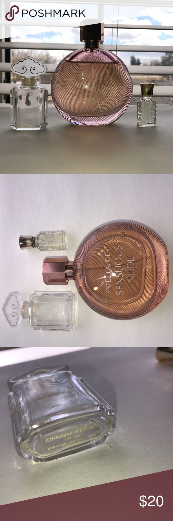 Estée Lauder Sensuous Perfume Nearly full bottle of perfume. No more than four sprays used. I am too sensitive too the smell. Includes an empty Cinnabar bottle as well as an empty vintage bottle of Dew Youth Oil. Both also Estée Lauder products. Estee Lauder Other