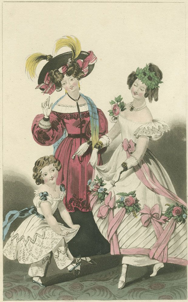 Fashion plate, 1829 Ball Dress, Dinner Party & Child's Dress (1829): Image of a fashion plate published by G.B. Whittacker & Co. for La Belle Assemblee No.57 New Series. Sept.1. 1829. Location: R. Crompton Rhodes Collection of Fashion Plates No. 55. Early and Fine Printing Collection. F39