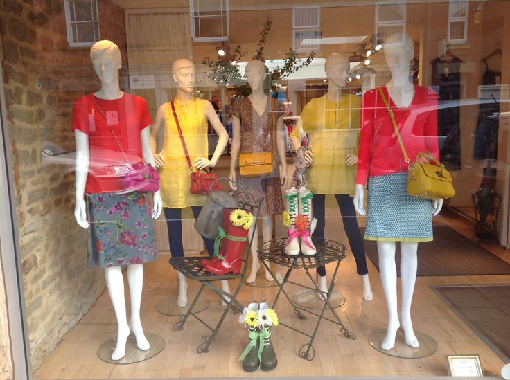 Easter 2014 window featuring clothes from Marilyn Moore, Chinti and Parker, Joseph and White Stuff.  Bags are from Mulberry and the wellies are Ilse Jacobsen