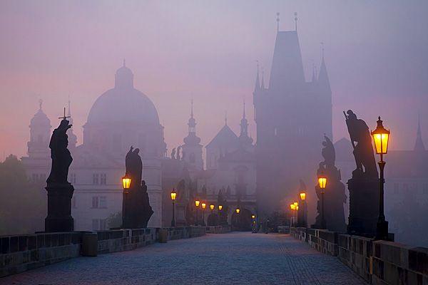 The Charles Bridge..a famous historic bridge that crosses the Vltava river in Prague, Czech Republic