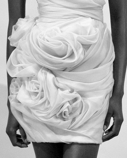 Sculpted Rose Skirt - beautiful fabric manipulation; 3D textures; wearable art; sculptural fashion