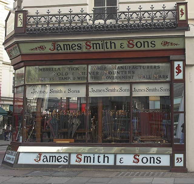 James Smith Umbrella Stick and Whip Shop in Bloomsbury London