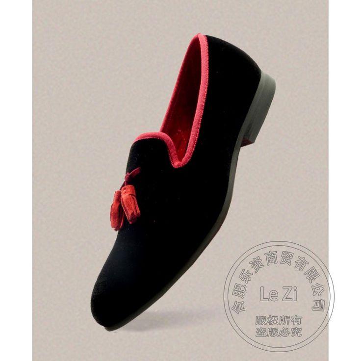 Faule Schuhe Spielen Wassermelone Rot Retro Gentleman Loafer Quaste Rauchen Hausschuhe Nubukleder Luxus Marke Schuhe Smoking Schuhe //Price: $US $88.38 & FREE Shipping //     #abendkleider
