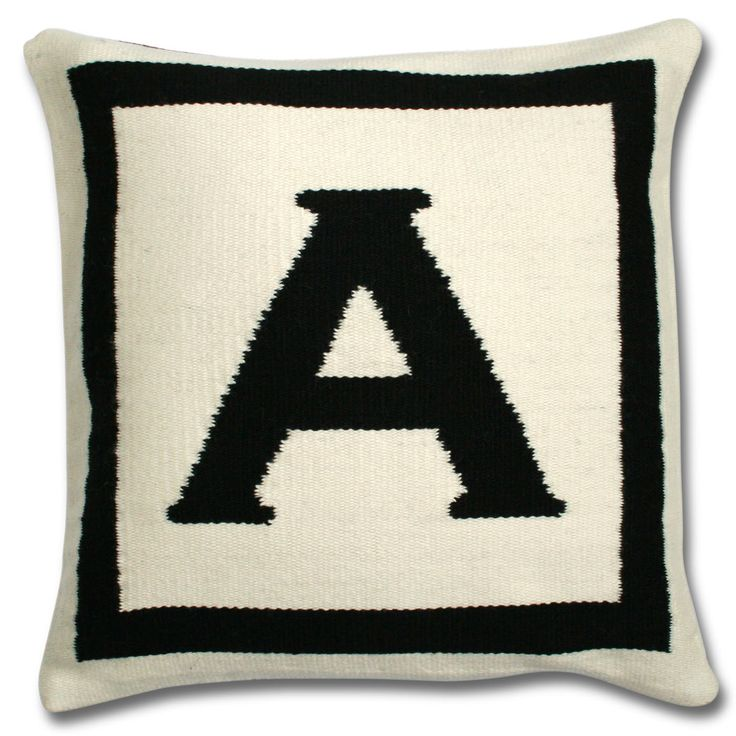 Modern Throw Pillows | Reversible Woven Wool Letter Throw Pillow .
