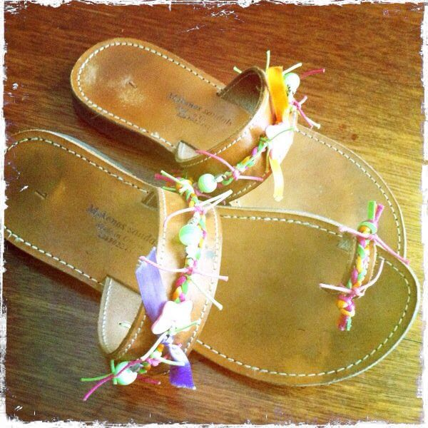 Leather sandals decorated by me.