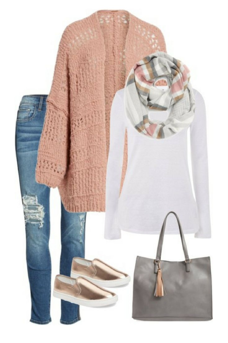 Cozy fall outfit, winter outfit, rose gold, infinity scarf, casual workwear