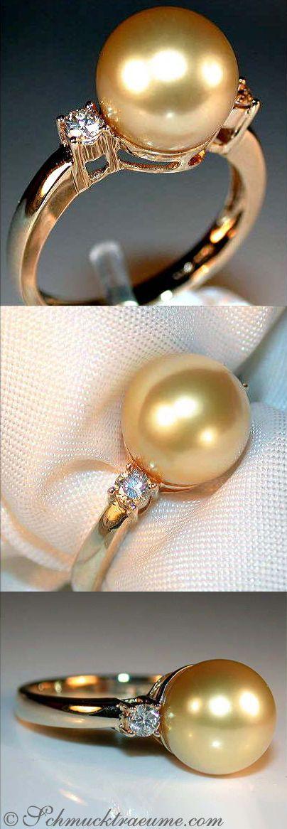 Timeless: Golden Southsea Pearl Ring with Diamonds, YG14K -schmucktraeume.com