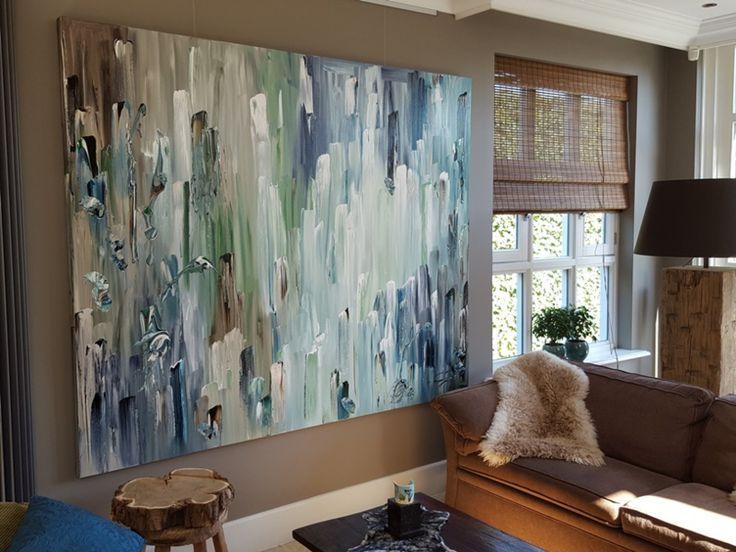Modern Interieur Schilderij : Best xl abstract modern schilderij blauw groen xl abstract