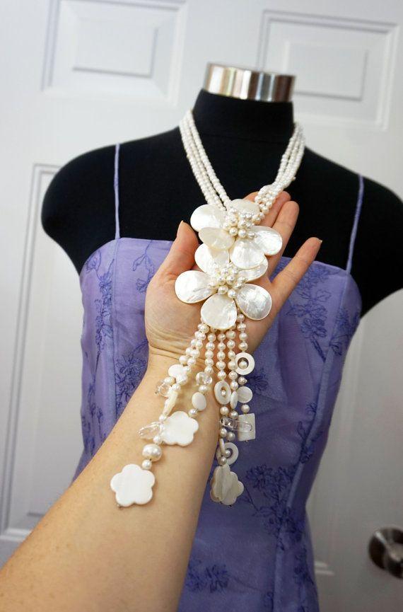 Svatební Náhrdelník Svatební SHELL Dlouhý náhrdelník Cocktail Party Sladká voda PEARL LONG Náhrdelník Sterling Silver spony White Pearl náhrdelník