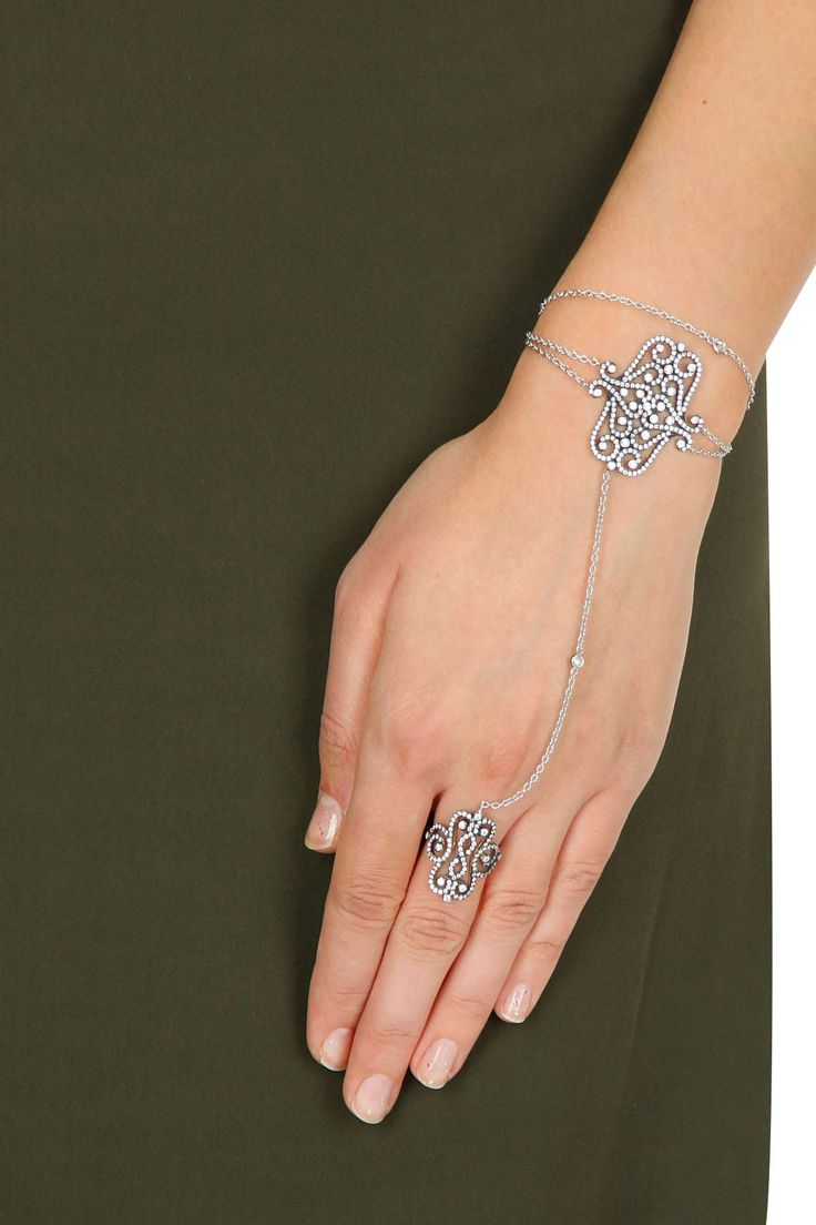 Rhodium plated filigree motifs hand harness available only at Pernia's Pop-Up Shop.