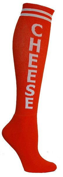 Orange knee high socks with CHEESE in white lettering and a cushioned footbed. Unisex design: fits a women's shoe size 7 - men's 13.5.