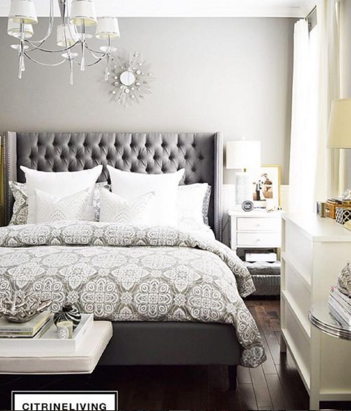 Grey patterns and tufted headboard make the perfect combo Citrine Living & Best 25+ Grey tufted headboard ideas on Pinterest | Grey bedroom ... pillowsntoast.com