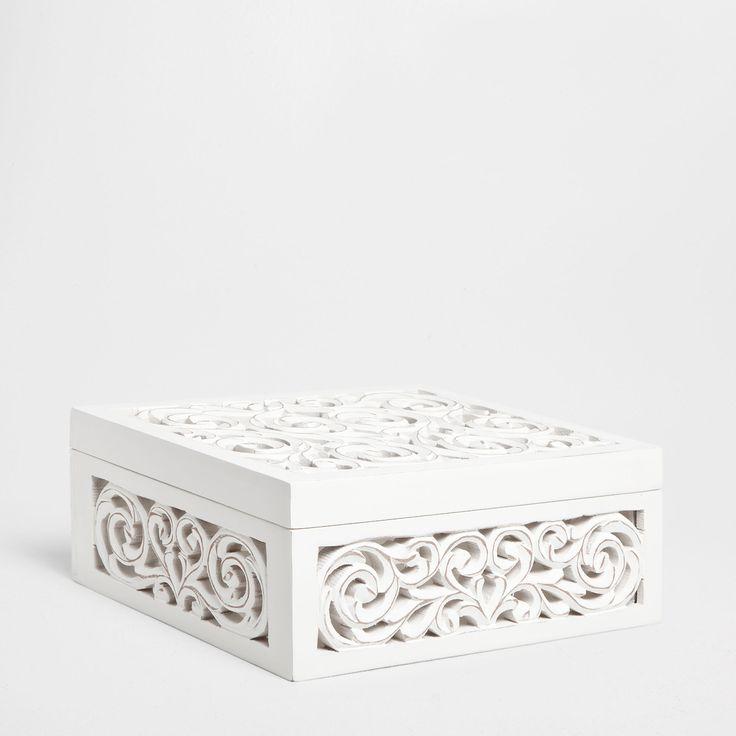 Caixa madeira rendilhada madeira zara home e casa - Zara home portugal ...