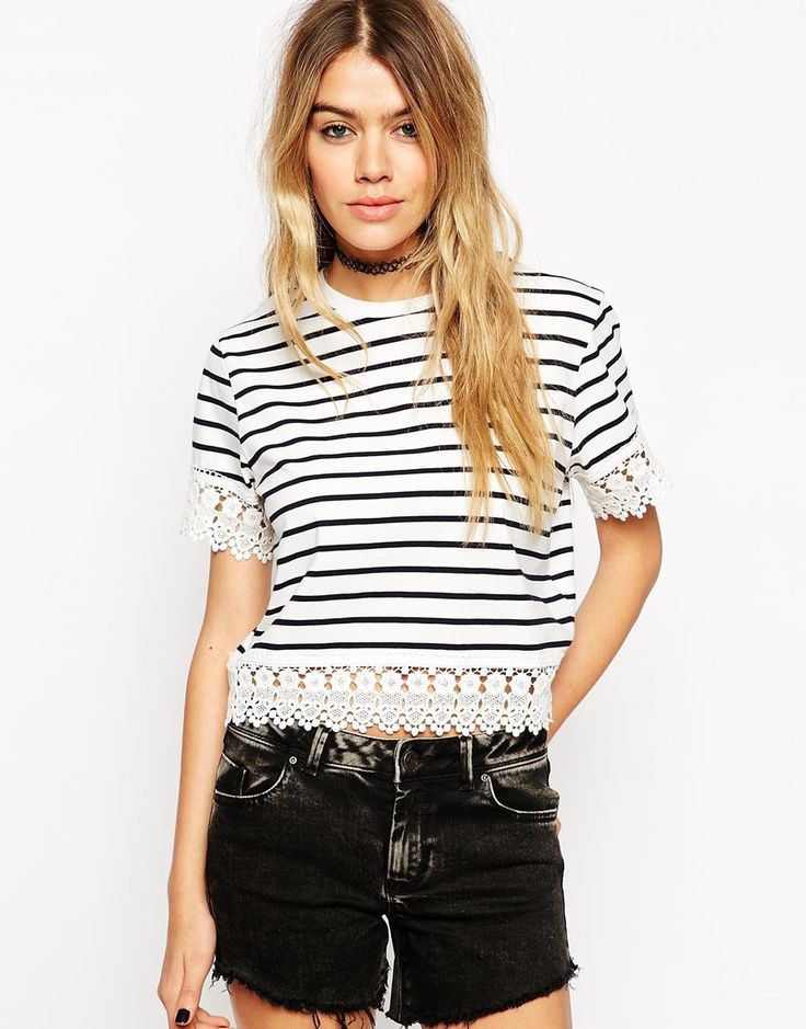 ASOS crochet hem striped crop top