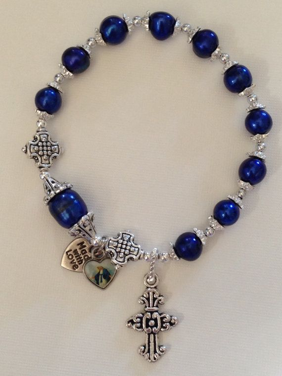 Blue freshwater pearl rosary bracelet by TheArtOfFaith on Etsy, $18.00