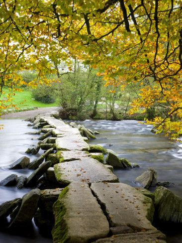 Tarr Steps Clapper Bridge in Autumn, Exmoor National Park, Somerset, England, United Kingdom