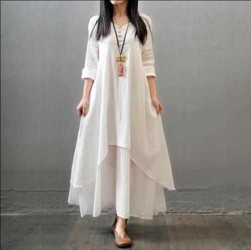 Retro Womens Cotton Linen Full Lenght Dress Gown Caftan Casual Long Sleeve Gown in Clothing, Shoes & Accessories,Women's Clothing,Dresses | eBay