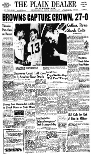 The Cleveland Browns defeat the Baltimore Colts to capture the NFL crown in 1964
