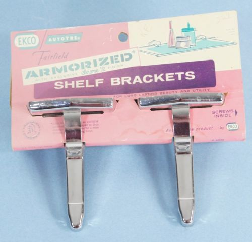 Vintage Chrome Shelf Brackets 50s 60s Ekco Autoyre Fairfield