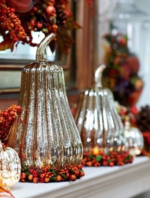 Valerie Parr Hill - Champagne Mercury Glass Gourds on Autumn Berry Candle Rings