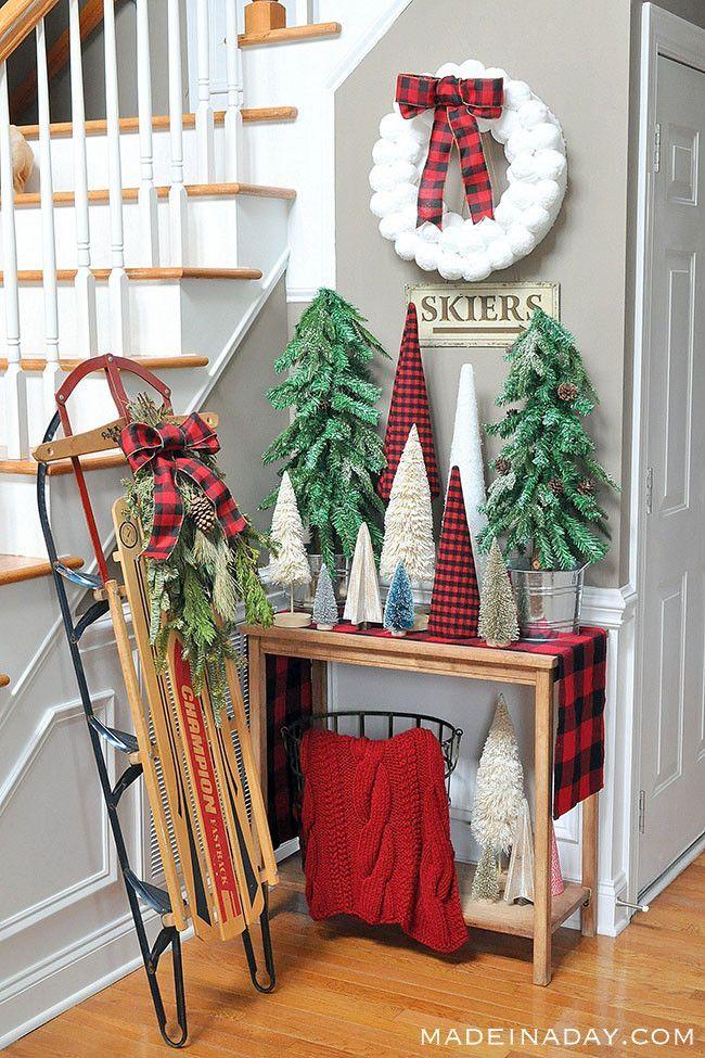 Adorable Buffalo Plaid Christmas Forest Entryway Buffalo