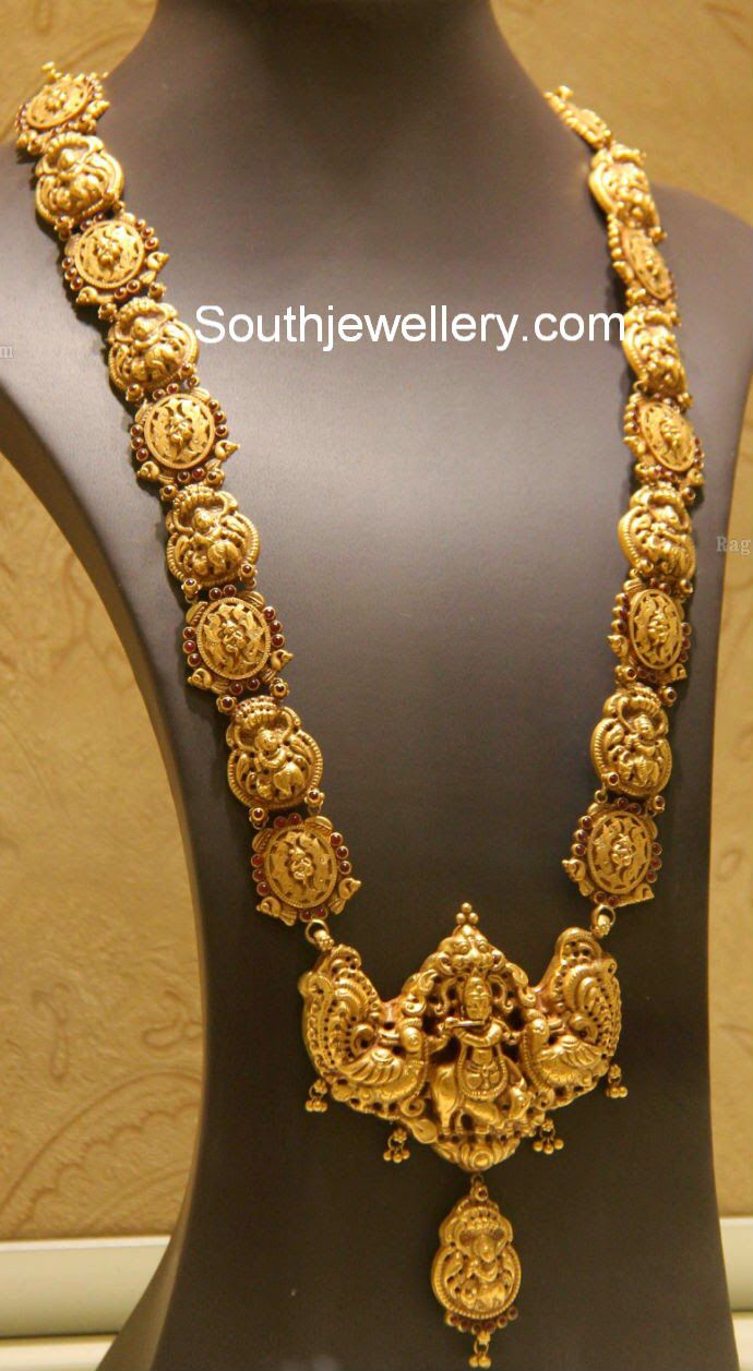 Beautiful 22 carat gold chains with matching pendant designs latest - Antique Southindia Temple Jewelry