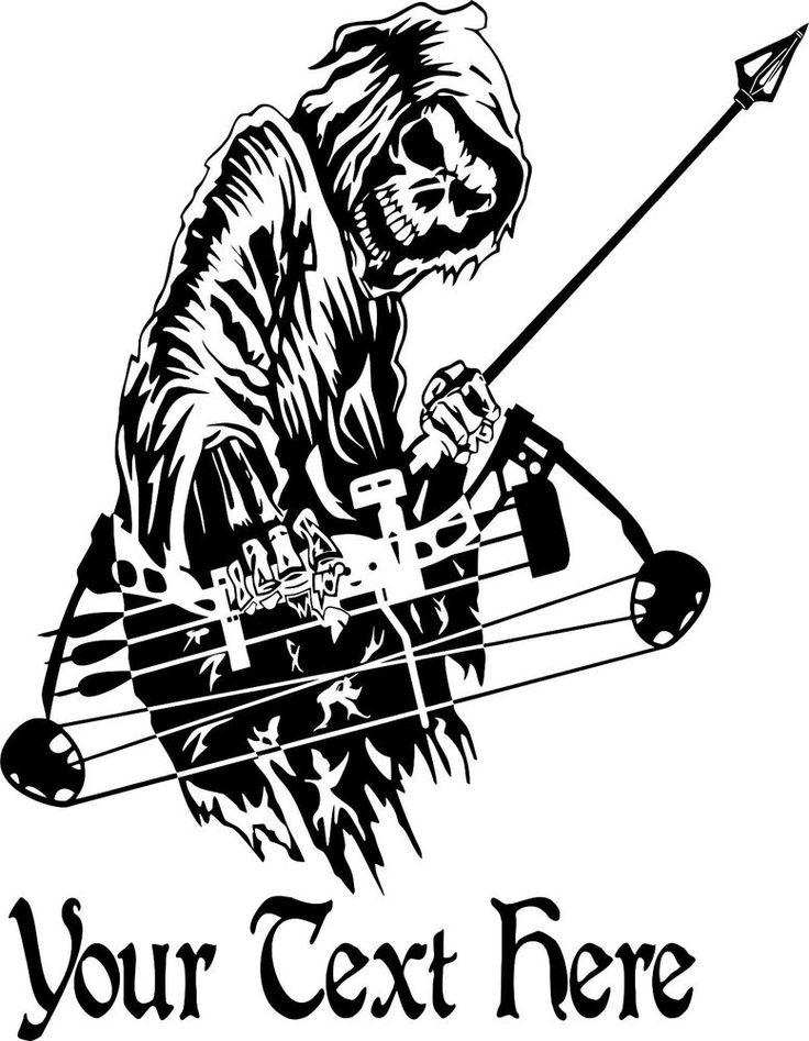 Custom Name Grim Reaper Bow Hunting Deer Car Truck Window Vinyl Decal Sticker #Oracal