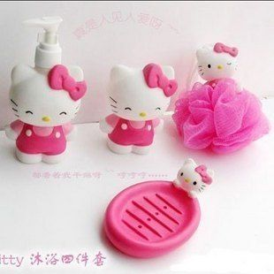 4pcs Set Hello Kitty Bathroom Bath Lotion Bottle Shower