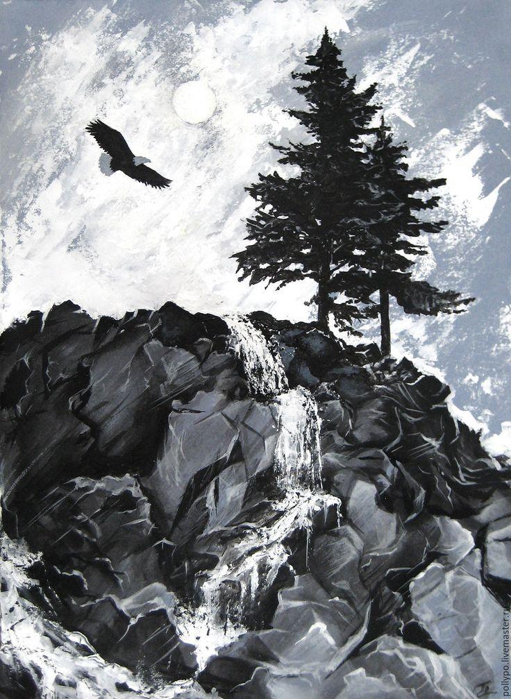 Купить О вечном - пейзаж, горы, ручей, картина, этюд, горный пейзаж, камни, орел