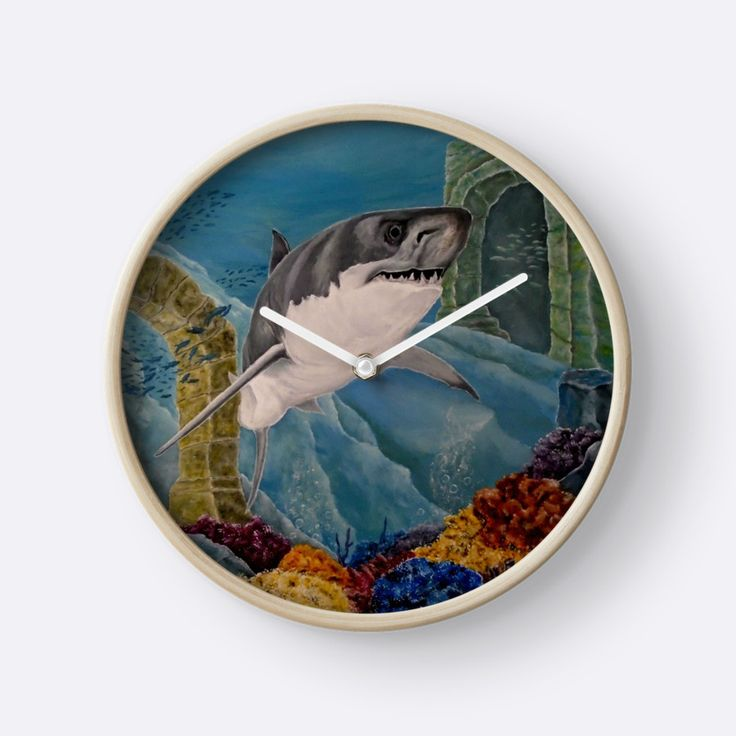 Wall Clock, artistic,decorative,items,shark,aqua,blue,turquoise,grey,wildlife,ocean,modern,beautiful,awesome,cool,home,office,wall,decor,decoration,gifts,presents,ideas,for sale,redbubble
