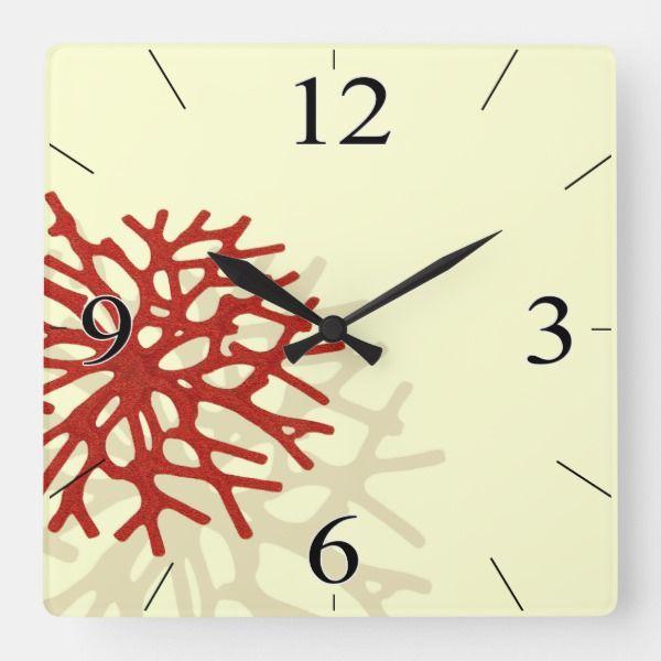 Coral Reef Beach Tropical Island Square Wall Clock Zazzle Com Square Wall Clock Wall Clock Tropical Islands