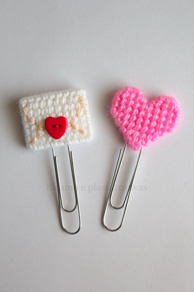 Set segnalibri, San Valentino, accessori planner, idea regalo per San Valentino, busta con cuore, cuore rosa, regalo per lettori, graffetta by Ricamoeplasticcanvas on Etsy