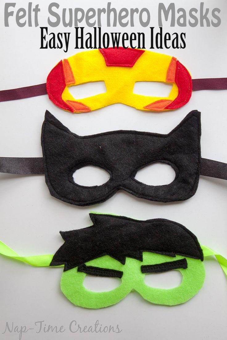Easy Felt Super Hero Masks Halloween fun by Nap-Time Creations Easy Halloween Costume