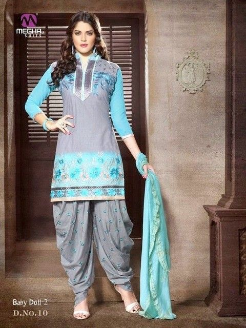 #Cotton patiala Unstitched salwar #kameez suit Dashing Sky Blue & Gray Patiala salwar kameez set with waistcoat. pair with matching dupatta.Salwar Include Dupatta fabric, Unless Specified. Available in 52% Discount @aimdeals