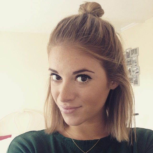 half hairstyles : lob, hairstyle, short hair, ombre, blonde, half up, up do, katielewla ...