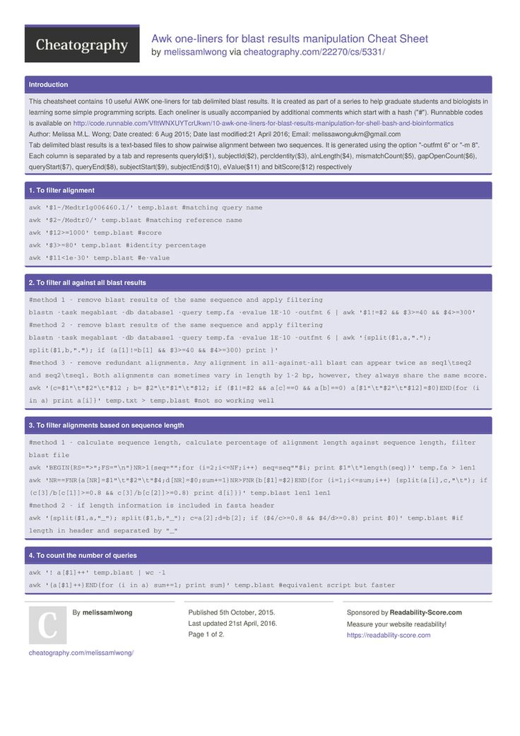 Awk one-liners for blast results manipulation Cheat Sheet by melissamlwong http://www.cheatography.com/melissamlwong/cheat-sheets/awk-one-liners-for-blast-results-manipulation/ #cheatsheet #
