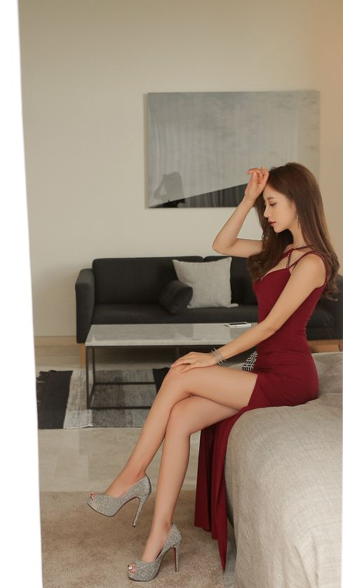 Asian Fashion Model Stockings And Heels