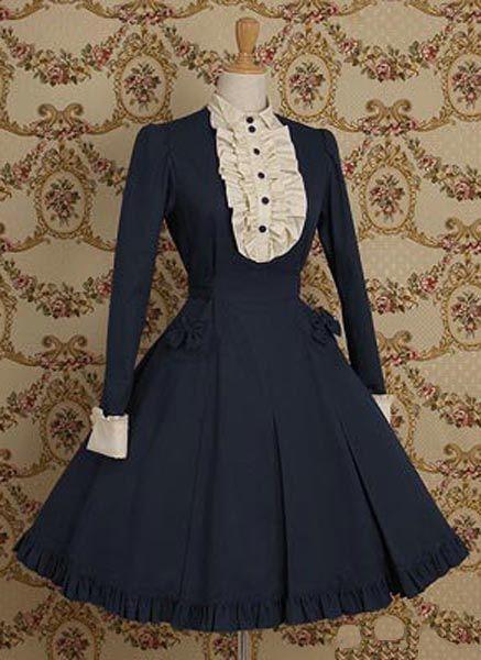 Long Sleeves Cotton Girl Classic Lolita Dress