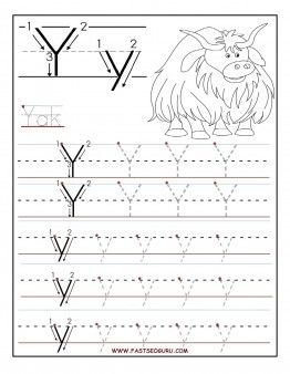 Free Printable letter Y tracing worksheets for preschool.free writing practice worksheets for 1st graders
