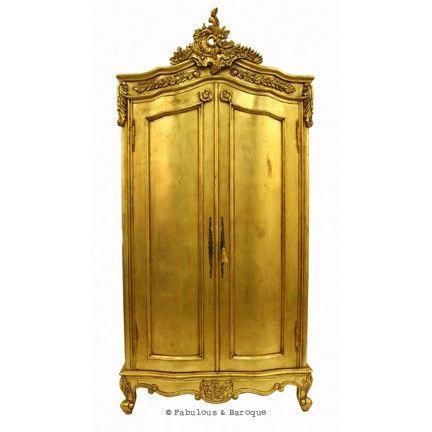 Cateline French Large Wardrobe- Gold Leaf  #French Ornate Modern Baroque & Rococo Furniture www.fabulousandbaroque.com