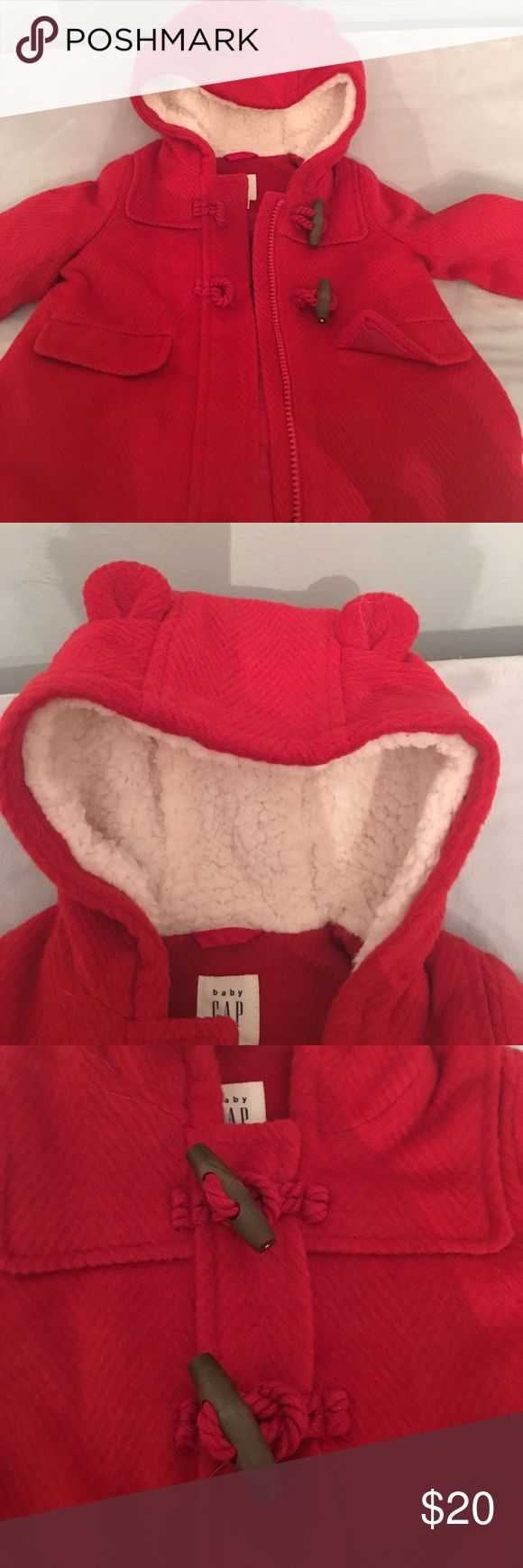 baby GAP coat 6-12 months New (used once) baby GAP coat 6-12 months.  The hoodie part has adorable ears. GAP Jackets & Coats Pea Coats