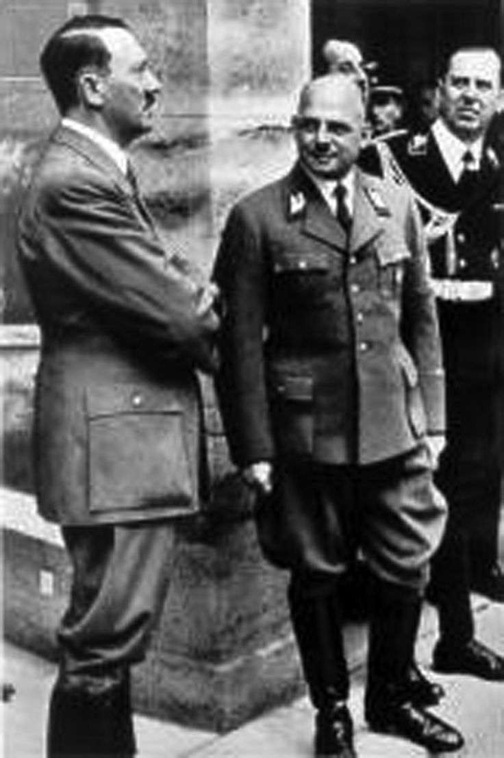 Fritz Sauckel (right) with Adolf Hitler. As the forced labor overlord in the 3rd Reich, Sauckel was responsible for the barbaric treatment of millions of foreign workers pressed into service by the Nazis. For his troubles, he was hanged in Oct 1946.