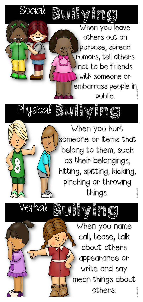 different types of bullying in school Bullying statistics & information bullying statistics & information bullying for the school, the costs of bullying are countless hours consumed in tackling a problem that is resistant to change wearing glasses or different clothing, being new to a school.