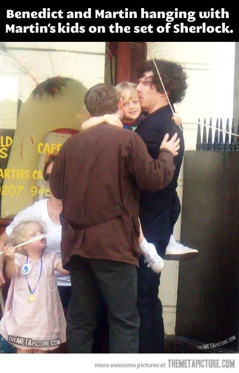 Benedict and Martin with Martin's kids. TOO CUTE