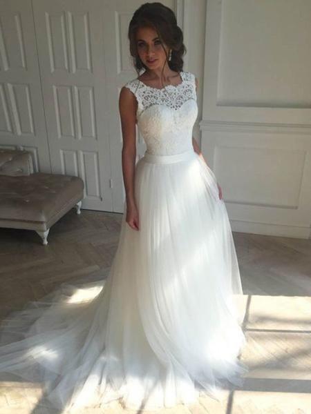 Unique Scoop Lace A-line Long Cheap Wedding Dresses Online, WD357