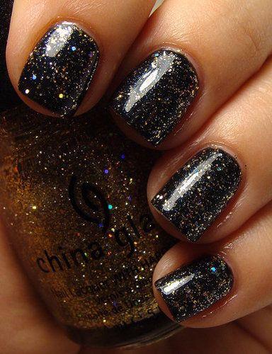 China Glaze Medallion (over black): Glaze Medallions, Black Polish, Glitter Nails, Black Nails, Nails Polish China Glaze, Beautiful Style, Black Sparkle Nails, Spaces Nails, Galaxies Nails